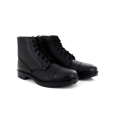 img-Grafters M391A Unisex Black Grain Leather 6 Eye Cadet Military Army Boots