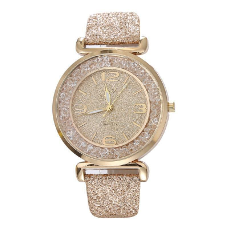 54954ac82fe Details about Bliingstyle watch with swarovski floating crystals glamour  leather band