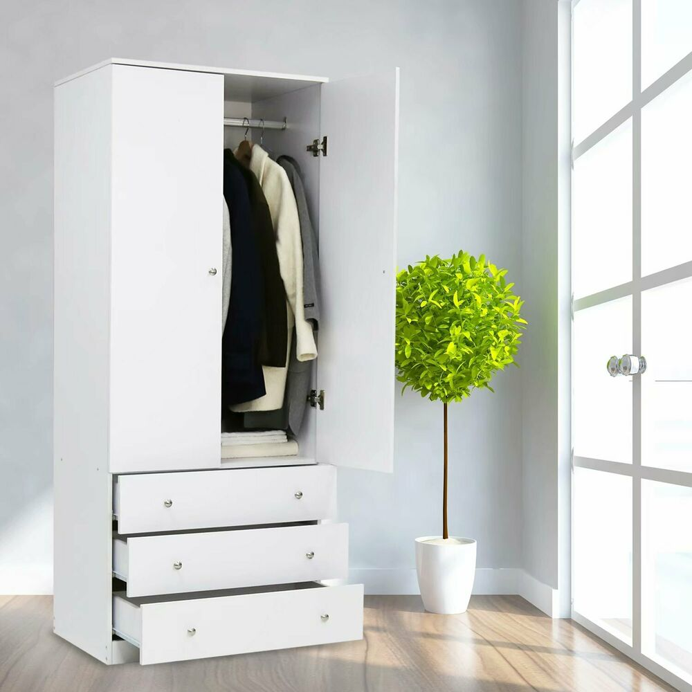 Details About Wood Armoire Wardrobe Storage Cabinet Clothes Organizer Closet Drawer Bedroom