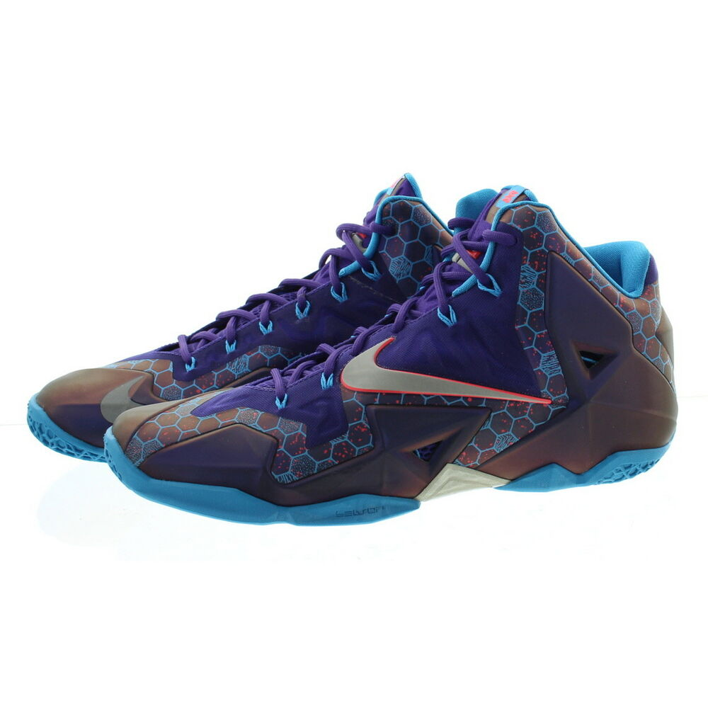 new product 55e47 8a85e Details about Nike 616175 Men Lebron James XI 11 Summit Lake Hornets  Basketball Shoes Sneakers