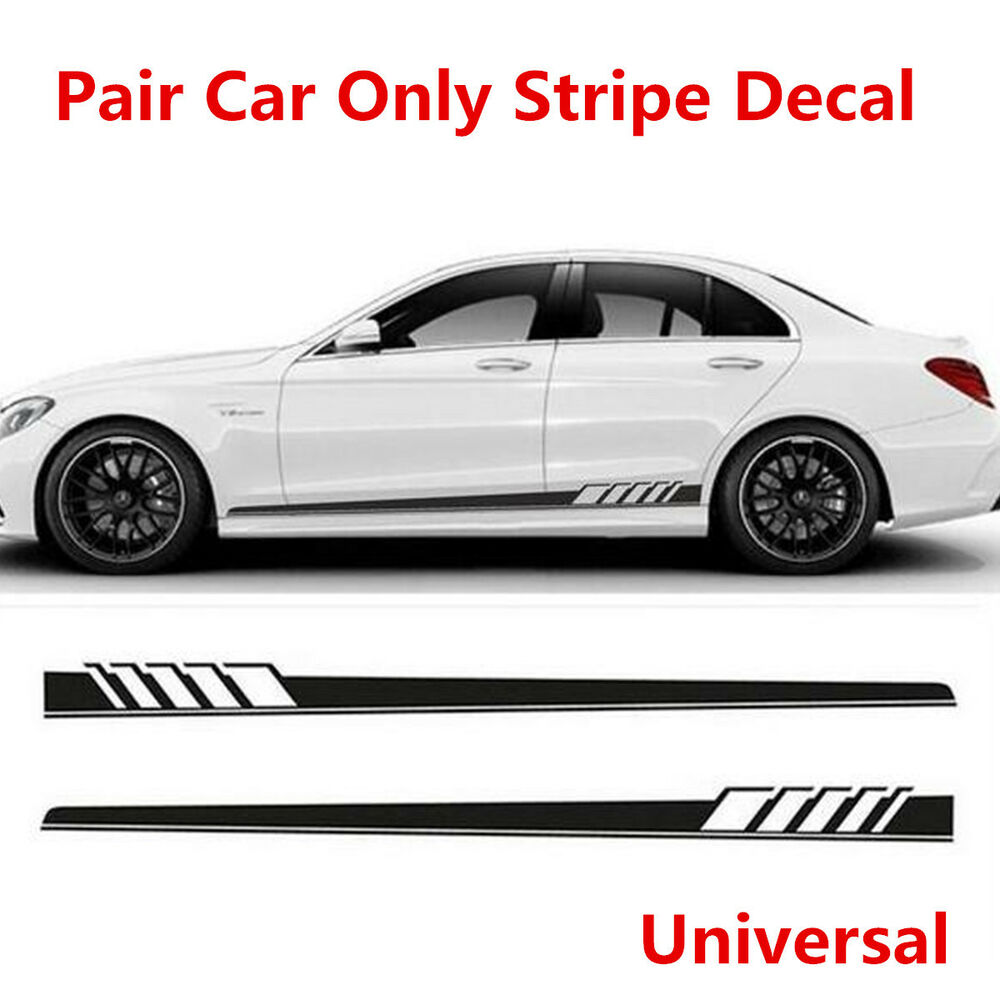 Details about 2pcs universal car side body sticker sports racing race car long stripe decal