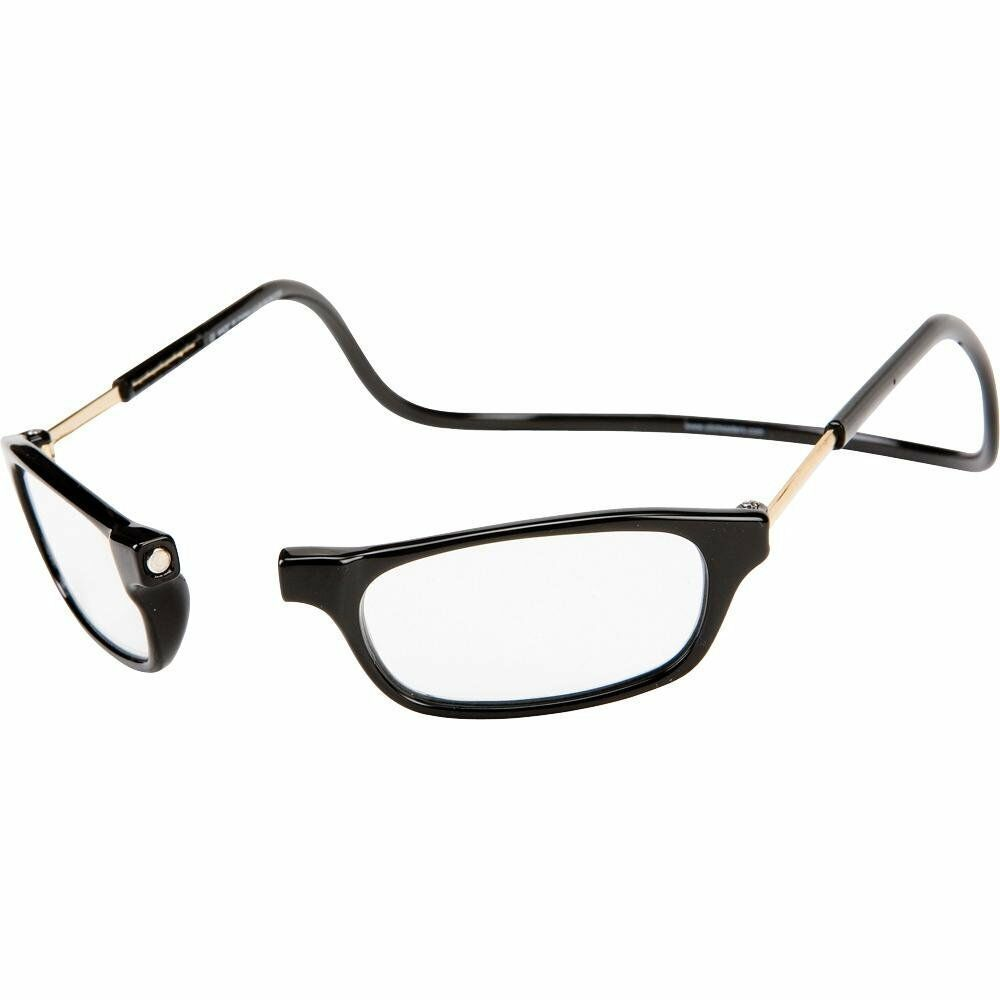 f86a5284b13 Details about MAGNETIC FRONT Reader Glasses CliC Clickit Clicker Snap BLACK  1.25 to 3.00