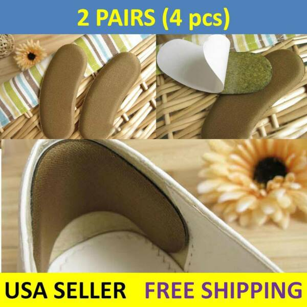 2 Pairs Soft Shoe Cushion Pads Liner Grip Back Heel Inserts Insoles Snugs