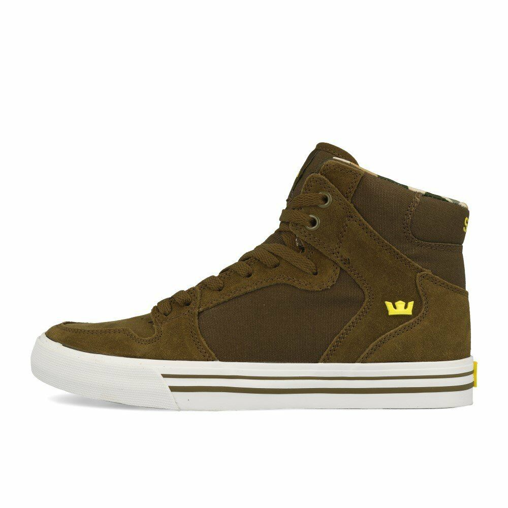 b2f759b236f0 Details about NEW SUPRA VAIDER OLIVE GOLDEN WHITE 08044-381 SKATEBOARDING  SHOES 8