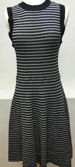88c83f941 Details about necessary objects Women's Fit& Flare Knit Stripes Black/White  Dress
