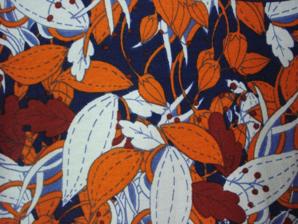 LuLaRoe Classic T Extra Small Navy Blue With Orange And Rust Leaf Amazing Lularoe Sewing Machine Print