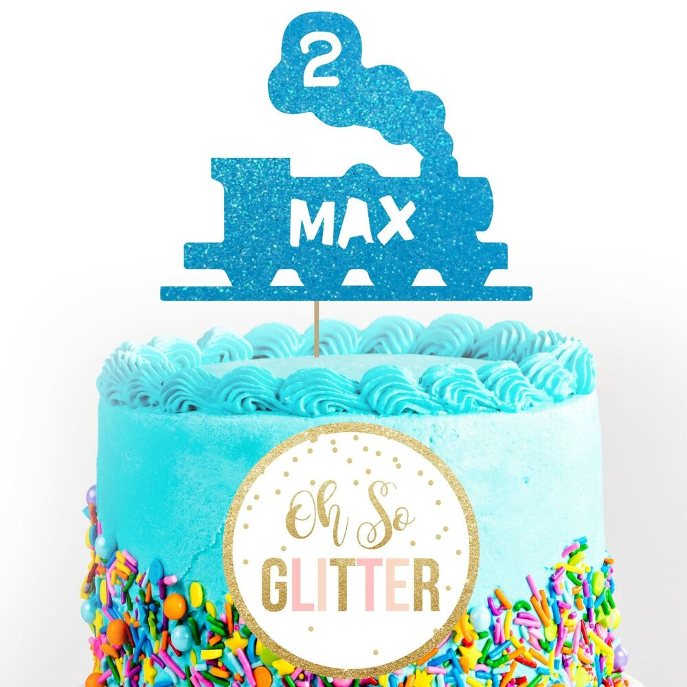 Details About Train Boy Cake Topper Customised Personalised Custom Glitter First Birthday
