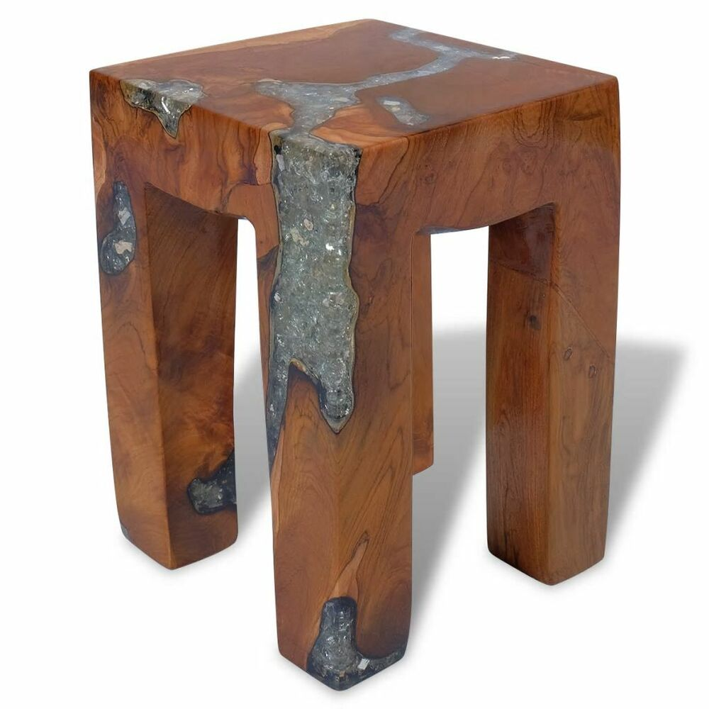 Vidaxl Coffee Table Teak Resin: VidaXL Solid Teak Wood Stool Chair Side Accent Table