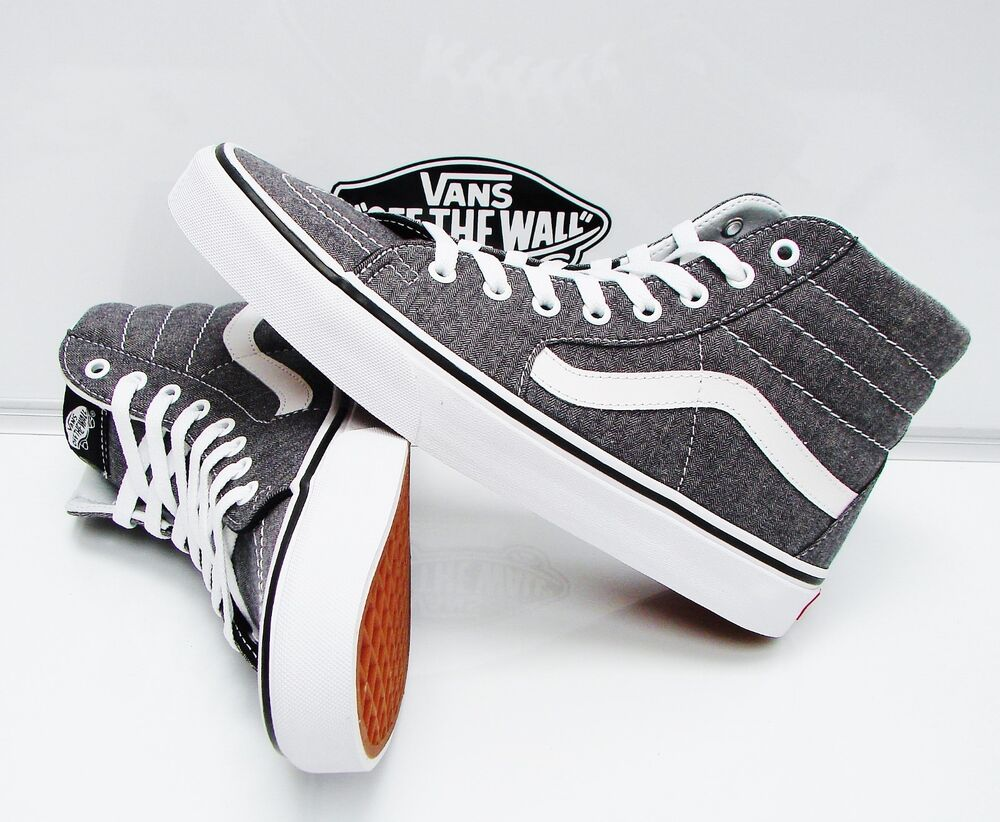 1870e30a96 Details about VANS SK8-HI (MICRO HERRINGBONE) BLACK TRUE WHITE VN-0A38GEQTW MEN S  SIZE  9