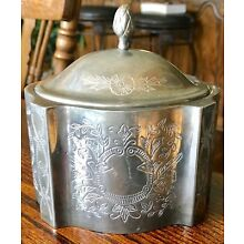 Antique Japanese Silver Plated Engraved Tea Caddy Jar With Pineapple Finial