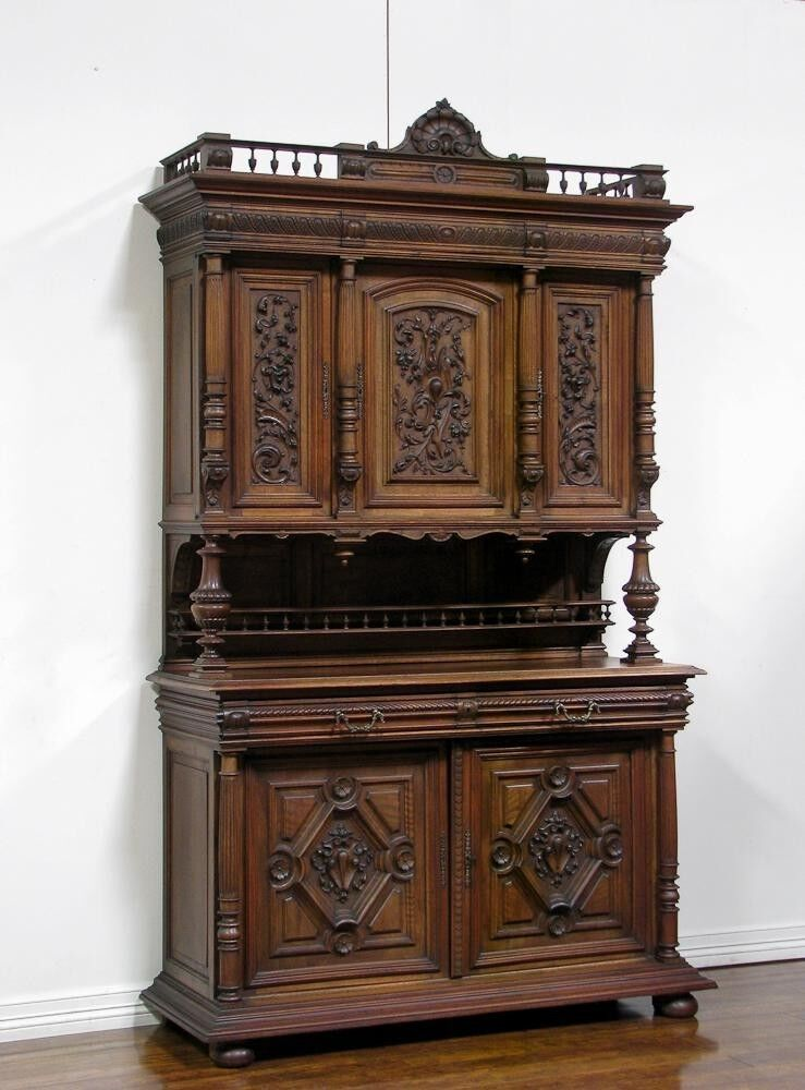 Antique French Walnut Renaissance Carved Buffet Sideboard ...