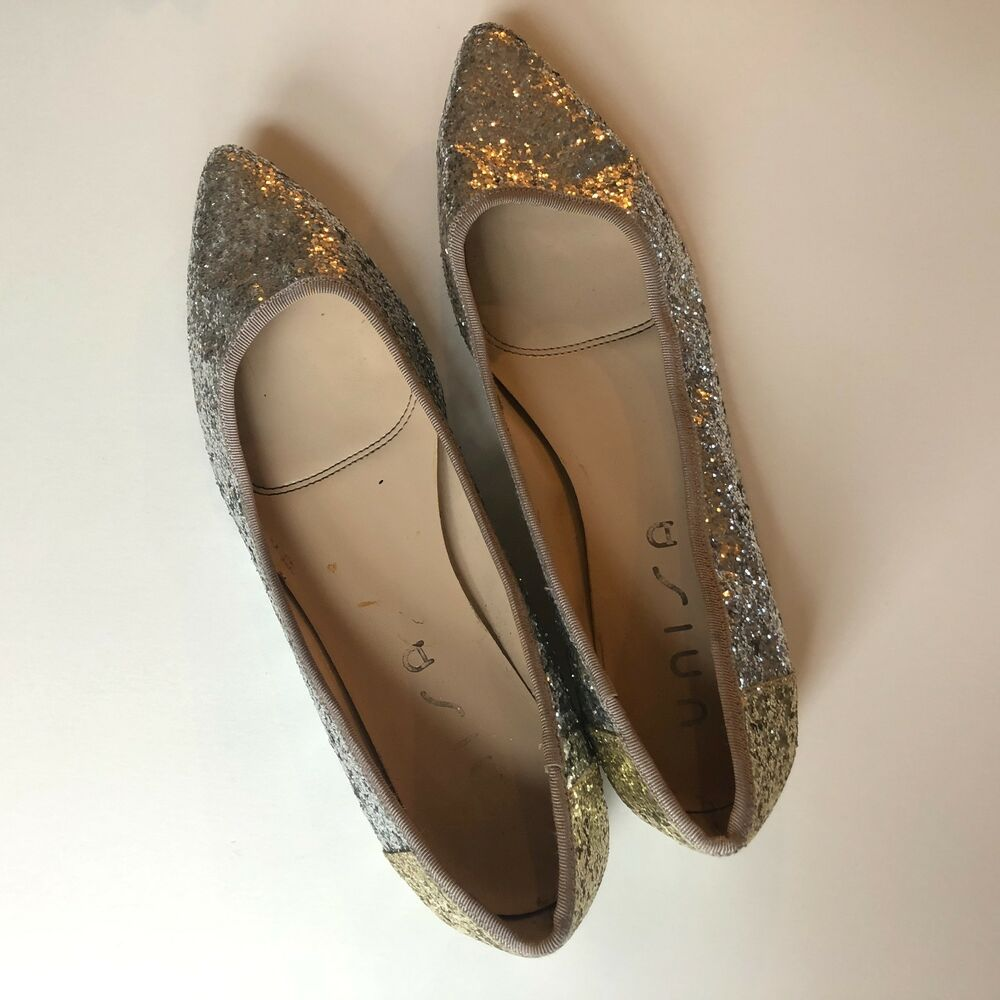 ed306b1cb06c Details about Unisa Womens Paoba Silver and Gold Glitter Flats Size 8