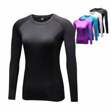 US Women Gym Sport Long Sleeve Shirt Tops Thermal Compression Base Layer Dry Tee