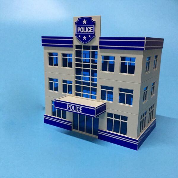 Outland Police Staion Building Model 1:87 HO Scale 3 Story Police Office Model
