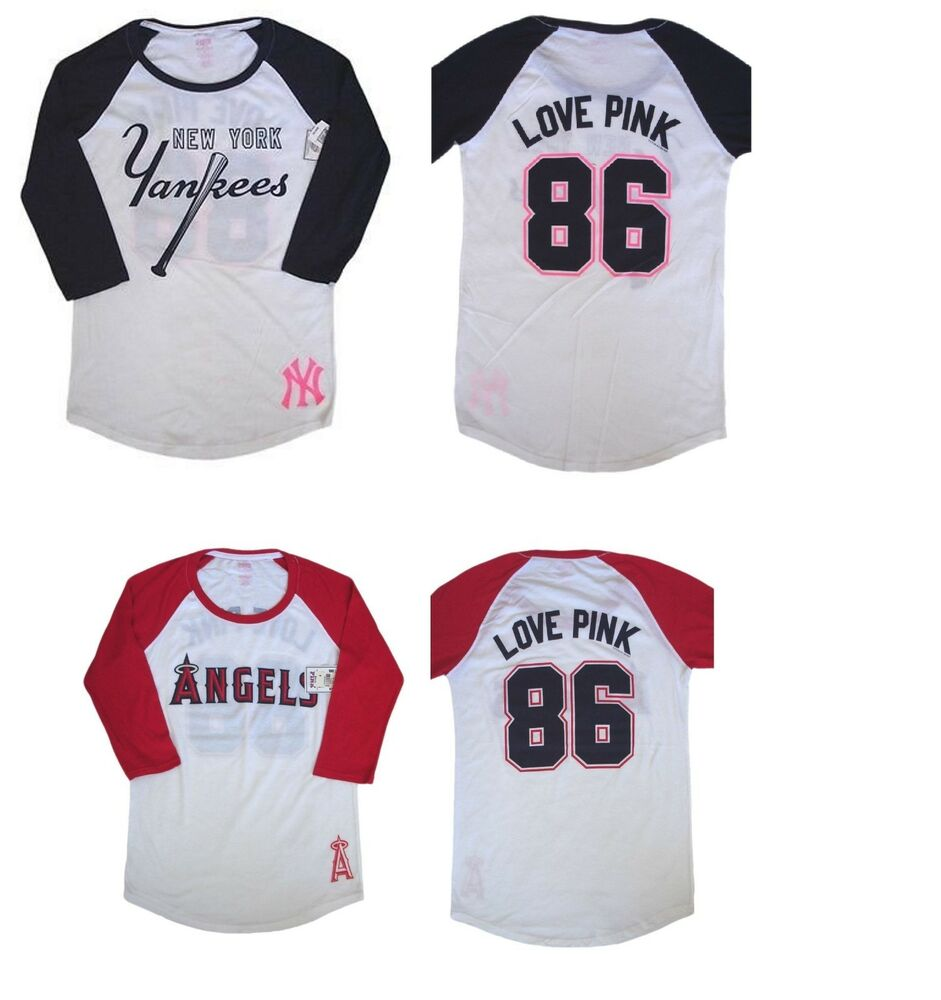 ba8561961a Details about 1 x VICTORIA SECRET PINK NEW YORK YANKEES LOS ANGELES ANGELS  3 4 SLEEVE SHIRT