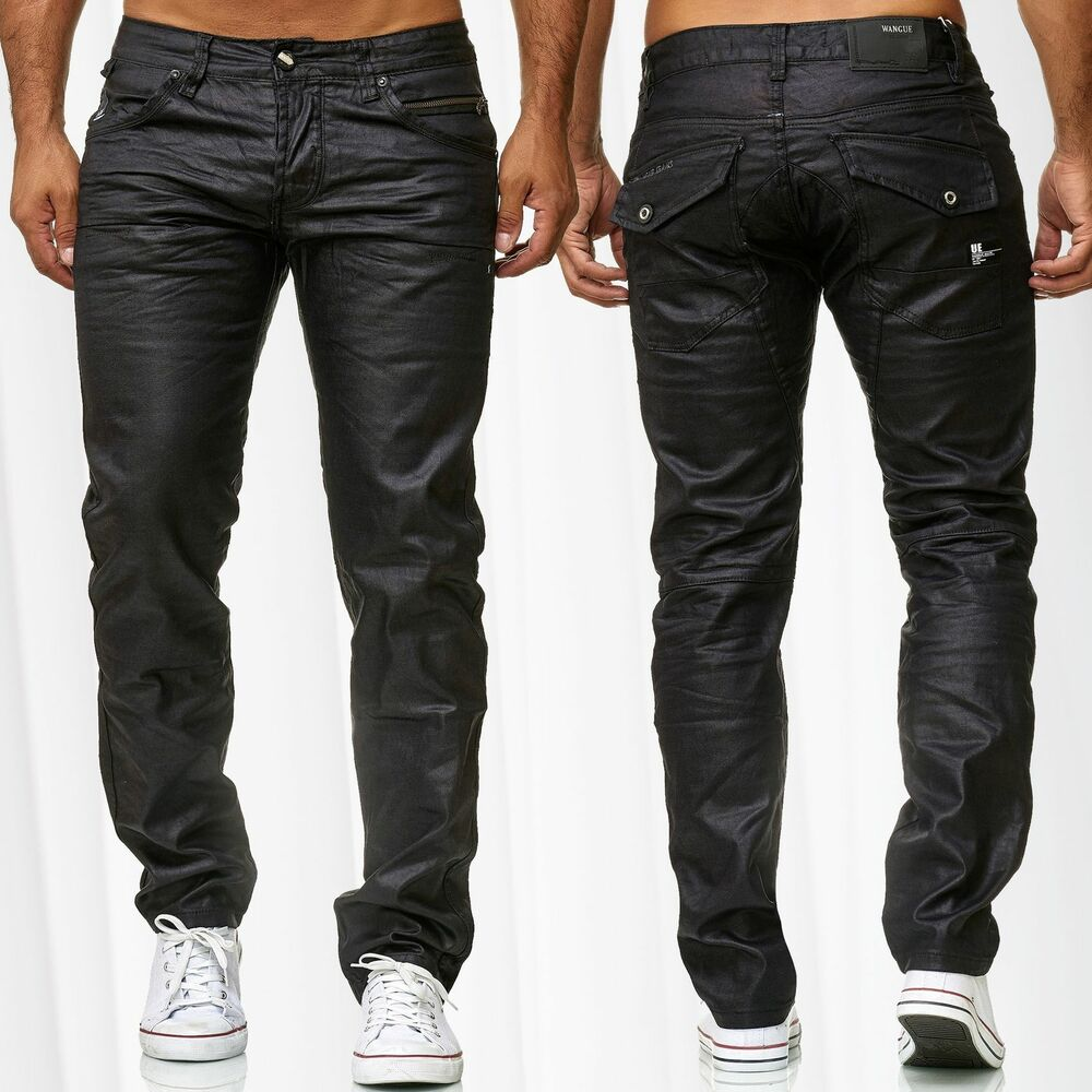 herren jeans beschichtet hose gewachst coated slim fit leder optik glanz ebay. Black Bedroom Furniture Sets. Home Design Ideas