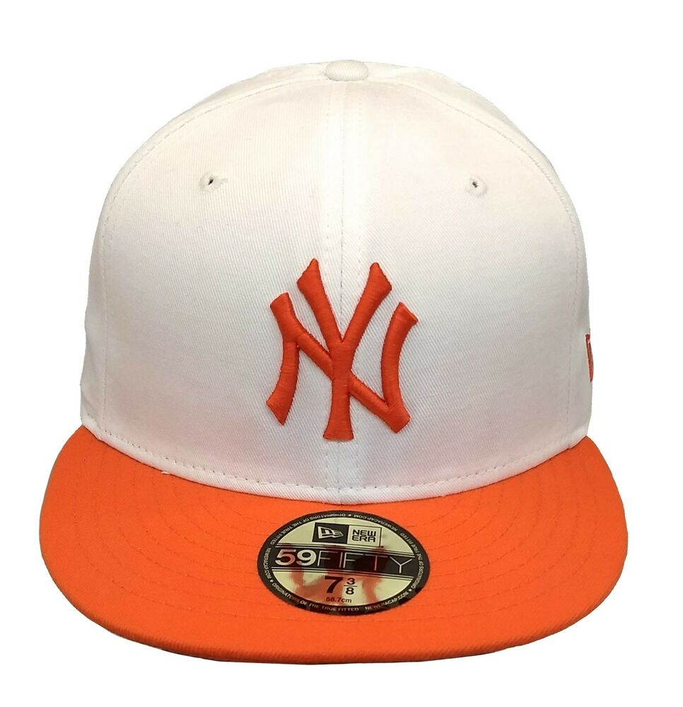 84fdd3df230 Details about New Era New York Yankees 59Fifty Fitted 2Tone Cap  (White Orange)