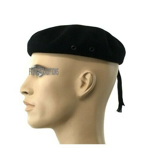 cbaee94d863ce Laulhere French 100% Wool Beret Army Commando Black 7 5 8 (8-61) Made In  France