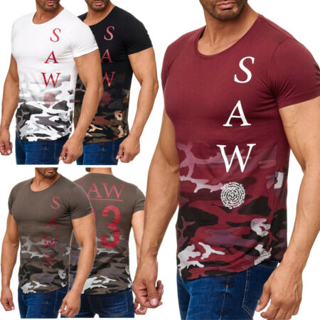 img-Men's T-Shirt Short-sleeved Shirt O-Neck Allover Print Print Camouflage