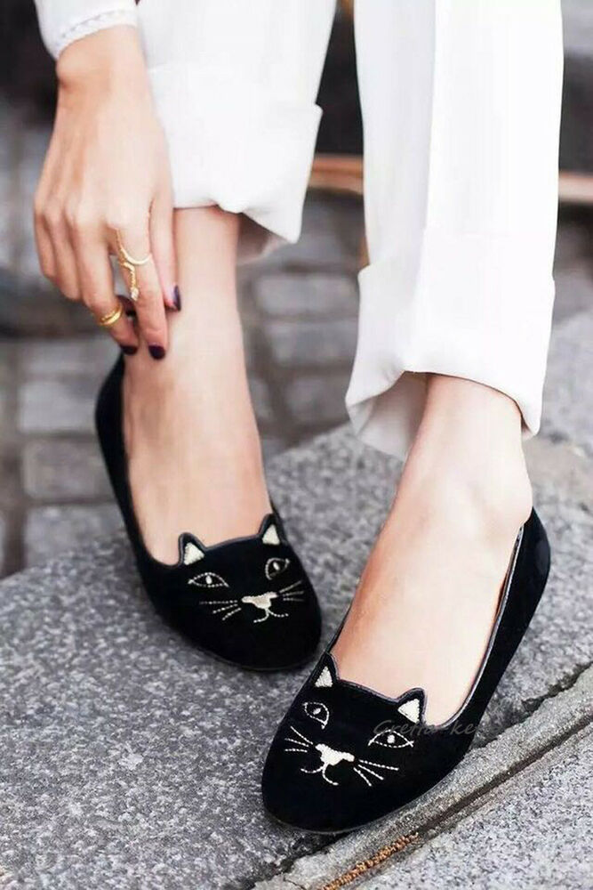 85bf5e5539d Women Olympia Kitty Cat Velvet Flats Loafers Charlotte Shoes Black   Gold  34-40