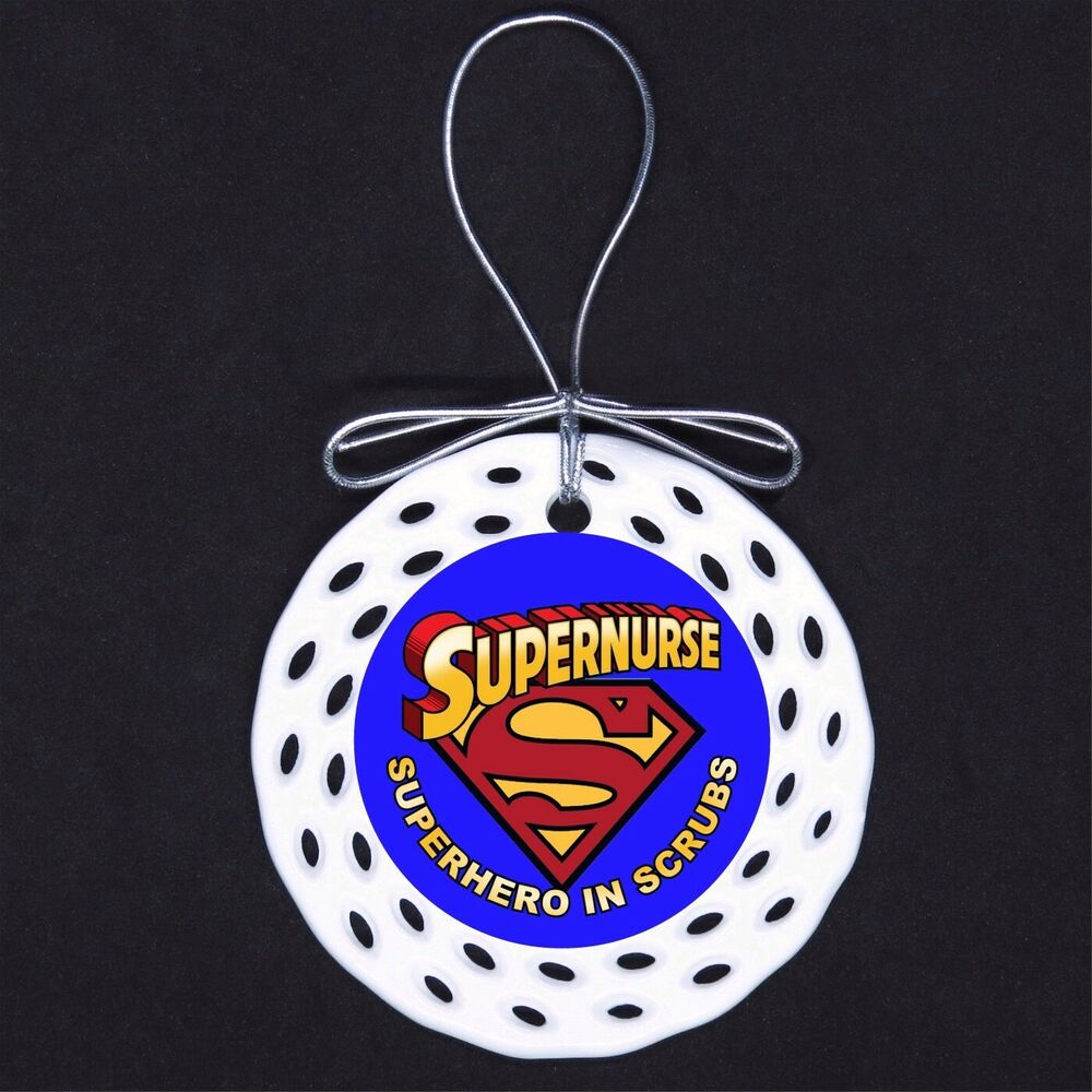 Super Nurse Hero in Scrubs Porcelain Ornament Gift Nursing RN CNA ...