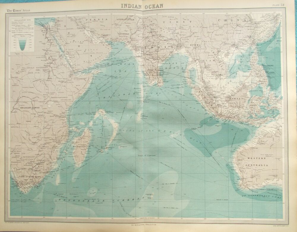 Map Of India And Africa.Map Of Indian Ocean 1922 India Africa South East Asia Original