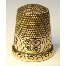 Antique Waite Thresher Co. Gold Thimble Etched Abstract Pattern