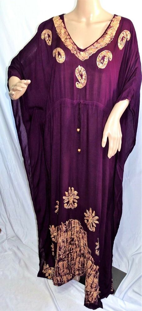 89b7b82f8ece Details about Riviera Sun Women Plus Free One Size Purple Gold Paisley  Tunic Caftan Maxi Dress