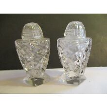VINTAGE ~ EAPG ~ PAIR OF CLEAR GLASS SALT AND PEPPER SHAKERS WITH TOPS.
