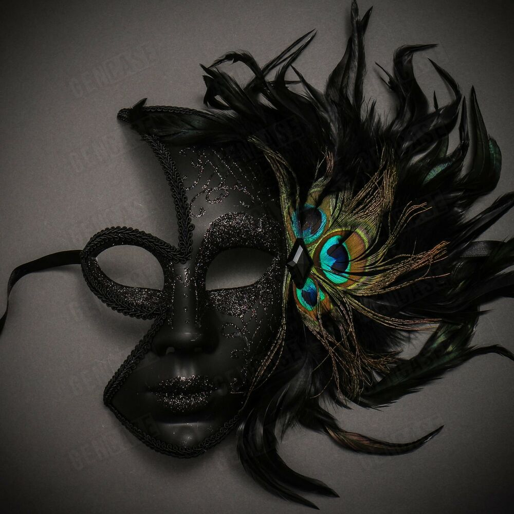 Details about Black Venetian Peacock Feather Mask Women Masquerade Half  Face Party Eye Mask