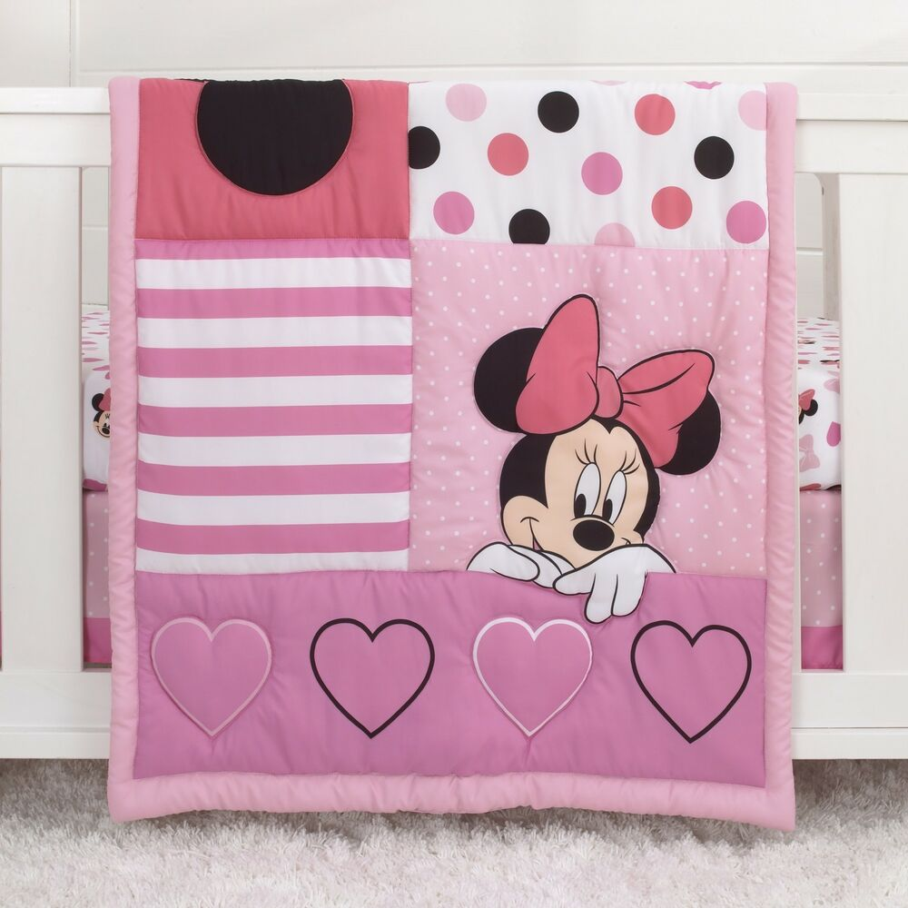 Minnie Mouse Loves Dots, Pink, White, and Black 4pc. Crib ...