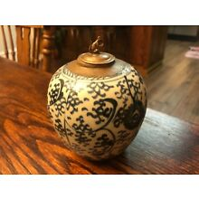 Antique Chinese Blue and White Twisted Branches Pottery Jar W/ Bronze Monkey