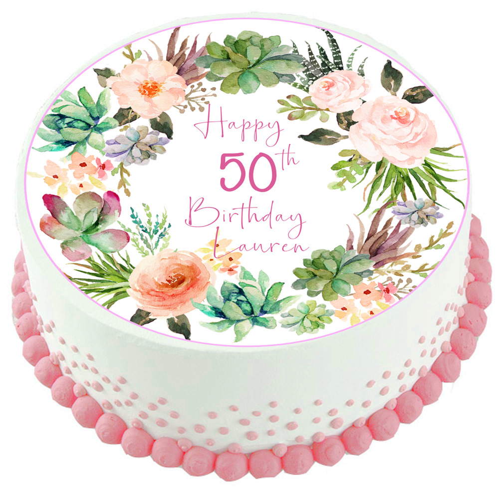 Details About Succulents Flowers Edible Cake Topper Decoration 50th 60th 70th 80th 90th
