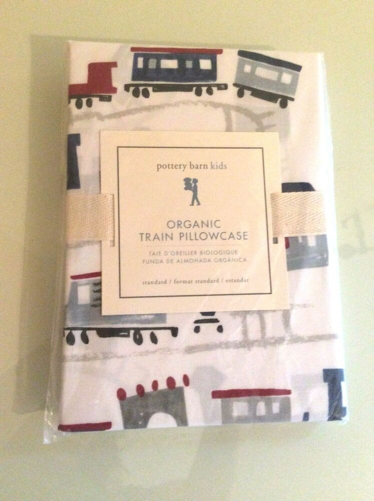 Pottery Barn Organic Train Pillowcase Truck Car Vehicle