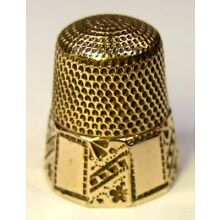 Antique Stern Bros. & Co. Ten Panel Gold Thimble Abstract & Flower Design