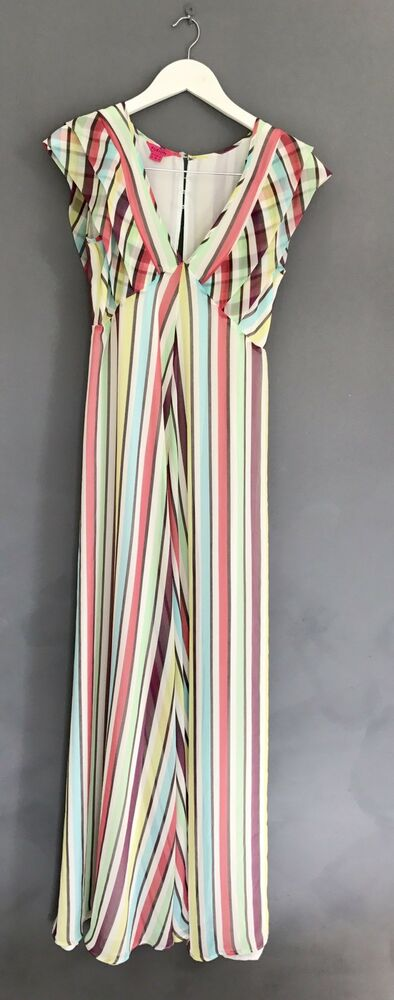 12023b86ef BNWOT MONSOON FUSION Candy Stripe Boho Rainbow Summer MAXI DRESS UK 10  RRP-£85! | eBay