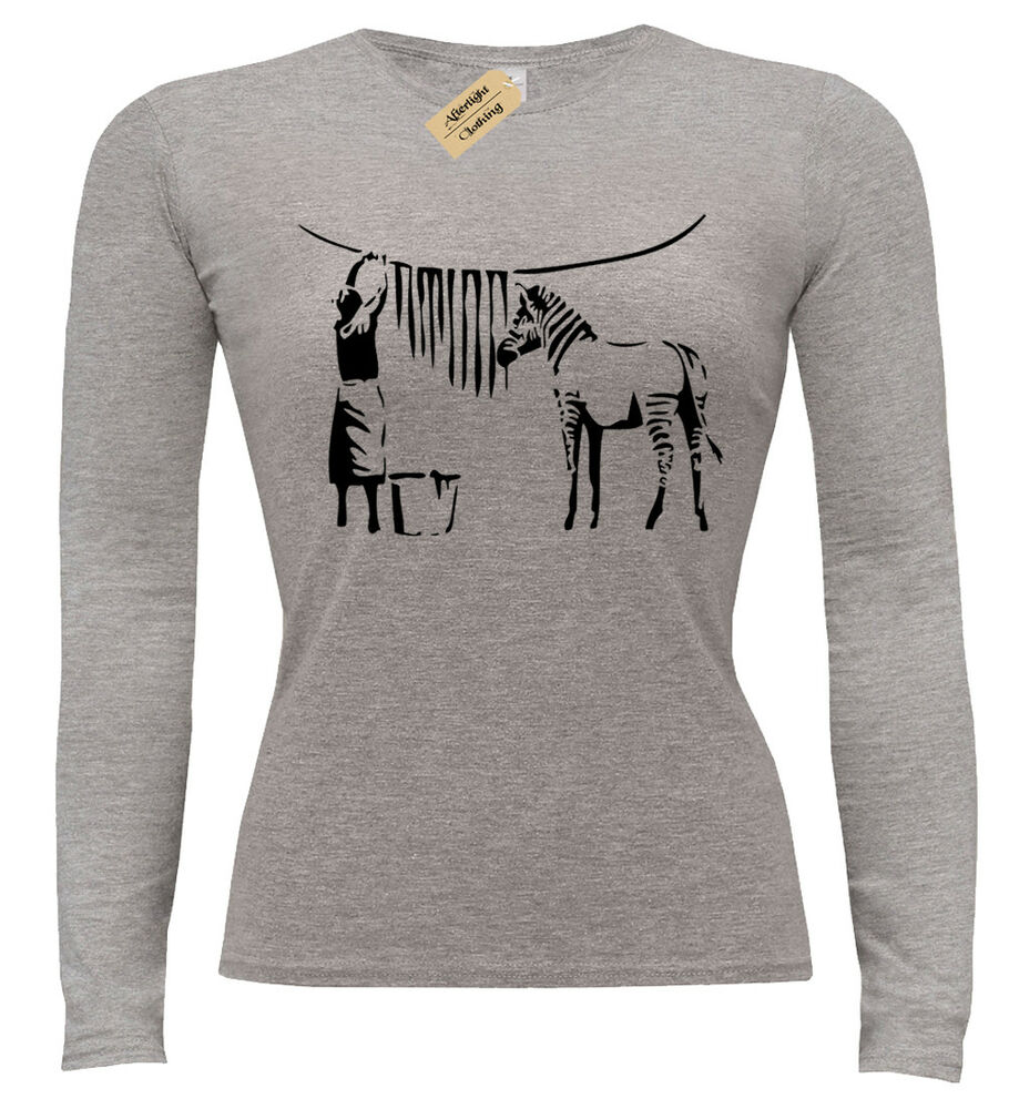 a1e12f18 Details about ZEBRA BANKSY LADIES T-SHIRT LONG SLEEVE ART URBAN RETRO FUNNY  DESIGN WOMENS
