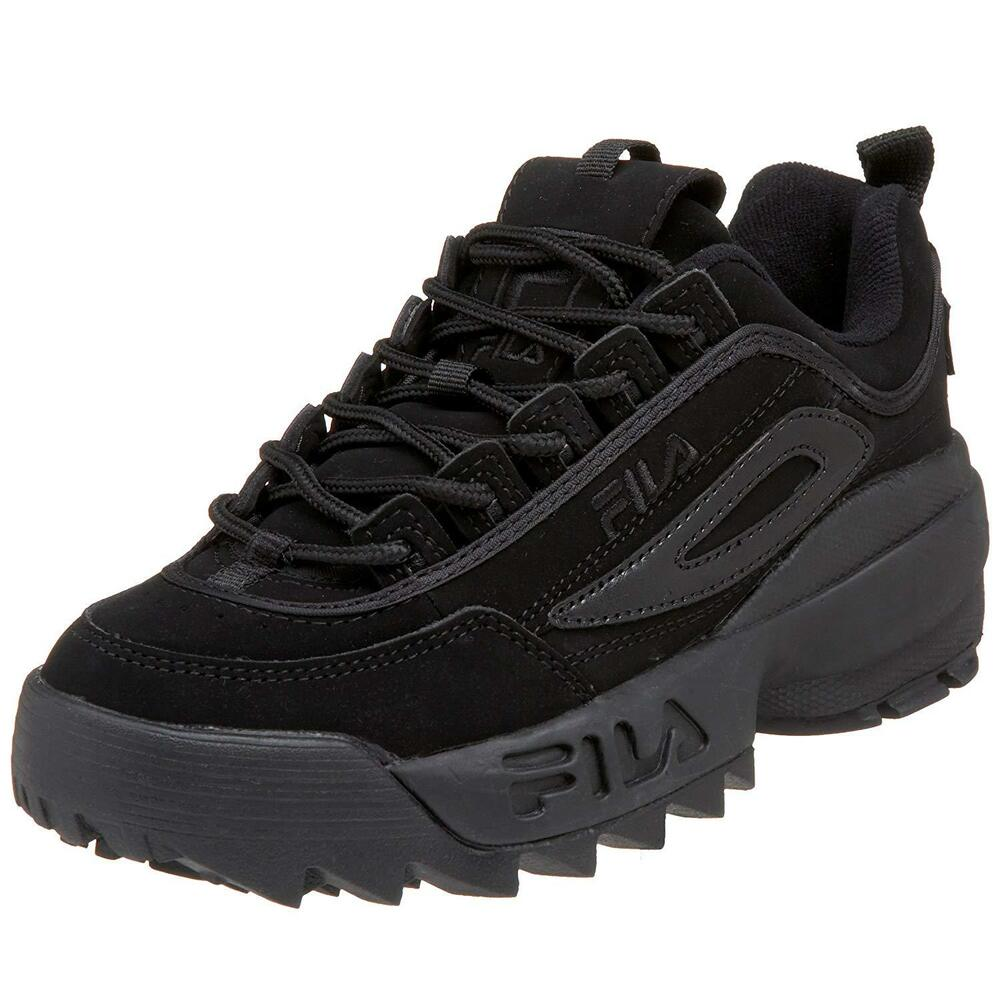ff6048a03fe Details about Fila Disruptor II 2 All Black Mens Fashion Suede Shoes  Sneakers Hi Sole Sizes