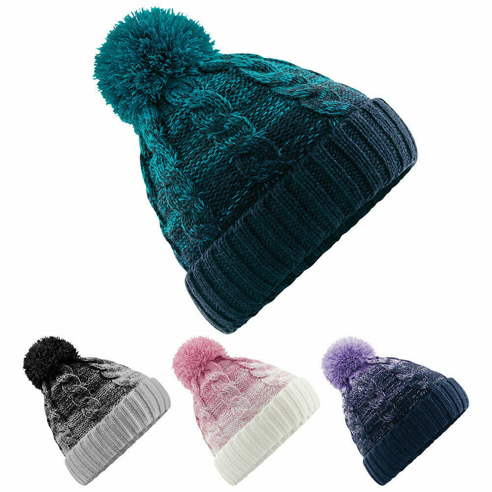 6bfbbb14dc7fd Details about Womens Ladies Ombré Wooly Winter Ski Wooly Knitted Pom Pom Bobble  Beanie Hat