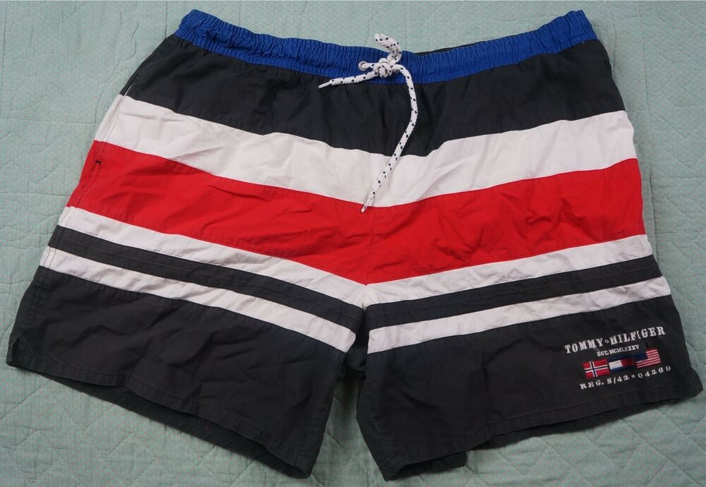 72b4815ad Details about Rare Vintage TOMMY HILFIGER Spell Out Flags Swimming Trunks  Shorts 90s Retro XL