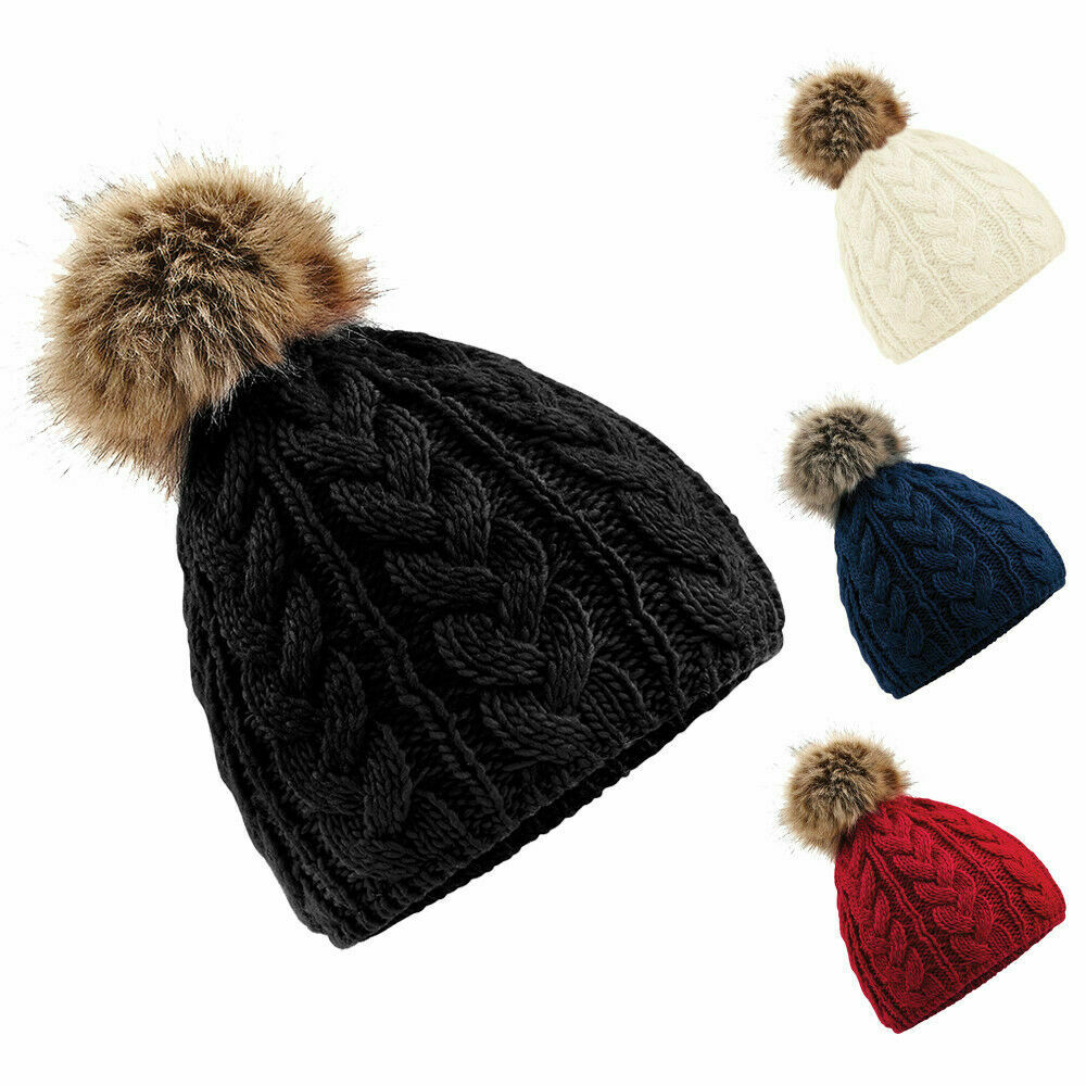 2344a612117 Details about Unisex Mens Womens Ladies Winter Fur Pom Pom Bobble Cable Knitted  Beanie Hat