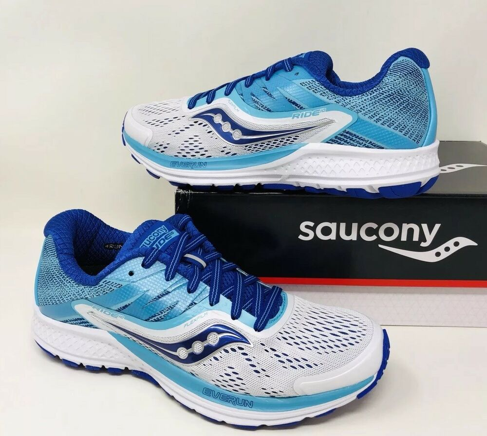 1032f219540 Details about Saucony Women s Ride 10 Running Shoe White Blue Pick A Size  Narrow