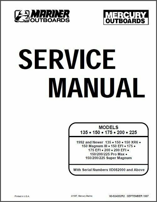 Details about Mercury - Mariner 135 / 150 / 175 / 200 / 225 Outboard Motors Service Manual CD
