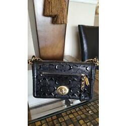 NWT!!! Coach Lex Small Flap Black Signature Debossed Patent Leather Cross body