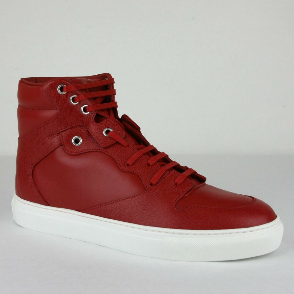 30ddd843fefe Details about Balenciaga Men s Dark Red Leather Coated Canvas Hi Top  Sneaker 391205 6479