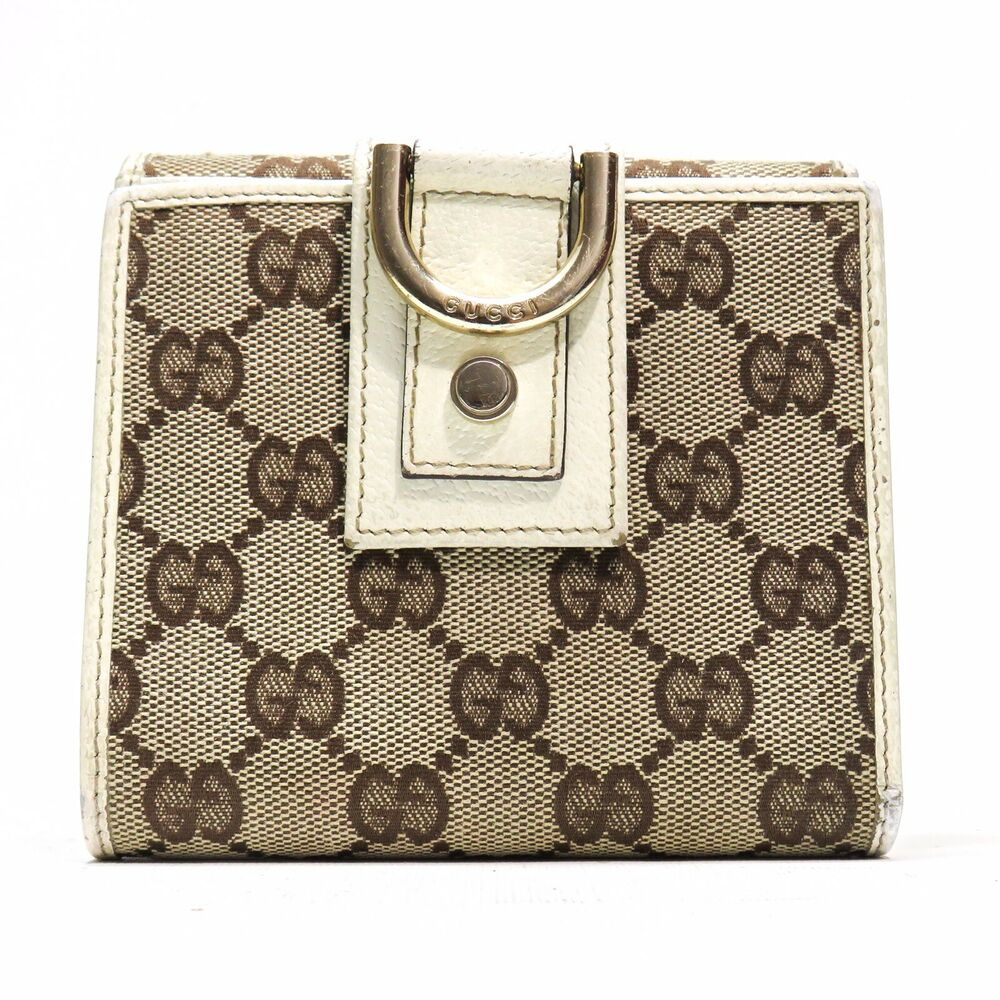 3fcbd01d8600 Details about GUCCI GG Logo Guccissima Brown Canvas Abbey D Ring Wallet - Made  in Italy