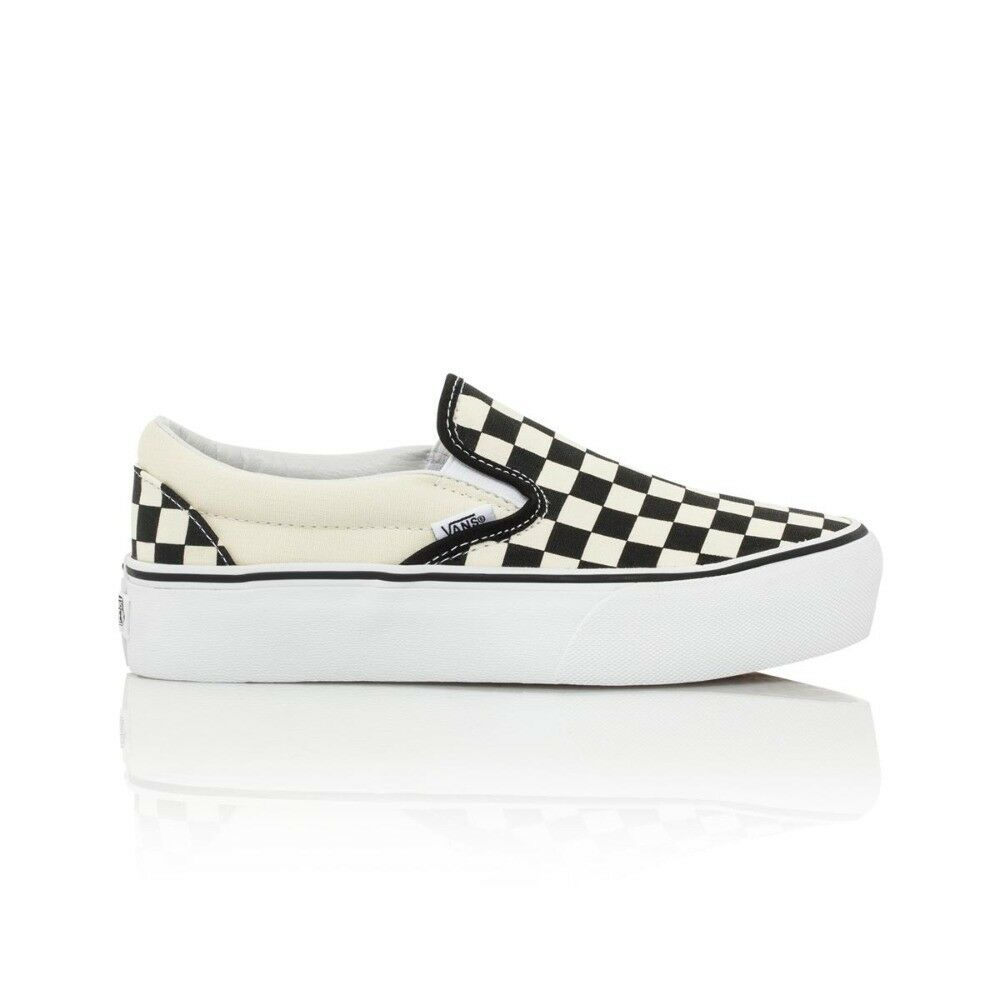 Details about Vans Classic Slip On Platform Casual Shoes - Womens - Checkerboard  Black White 116d073bb