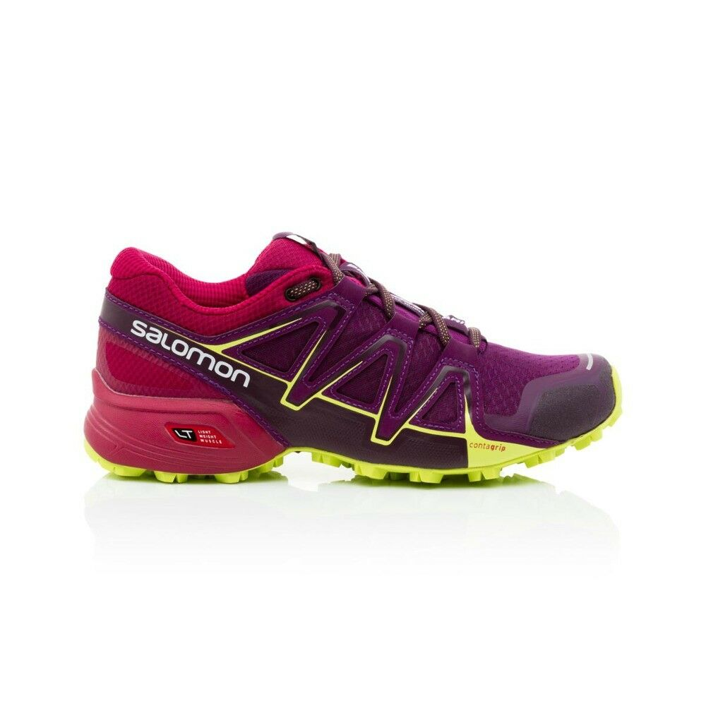 583241c2c910 Details about Salomon Speedcross Vario 2 Women s shoe - Dark  Purple Cerise Acid Lime