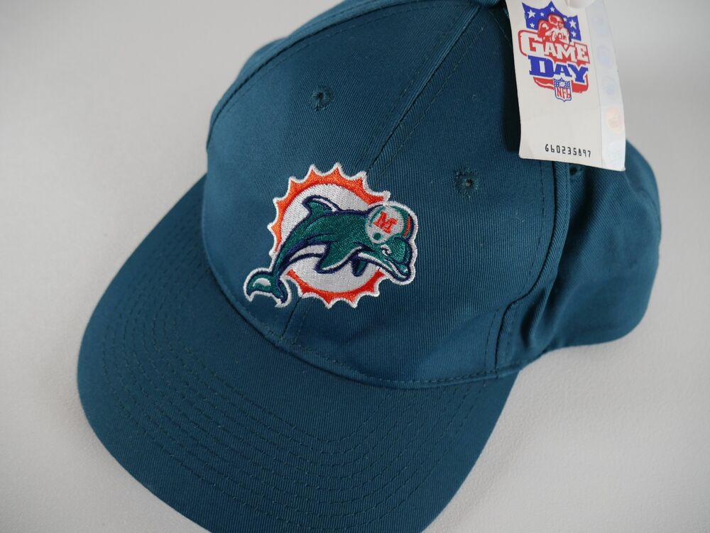 47ef557c9b0 Details about Vintage 90s Miami Dolphins Hat Logo NFL Game Day Snap Back  DEAD STOCK NWT