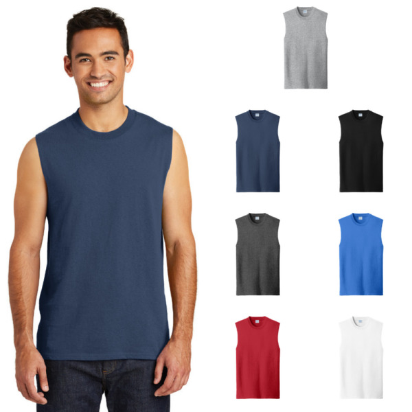 Mens Muscle Shirt Core Cotton Sleeveless Workout Tank Gym Active Blank T PC54SL